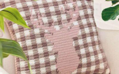 Spring Plaid Deer Crochet Pillow Cover