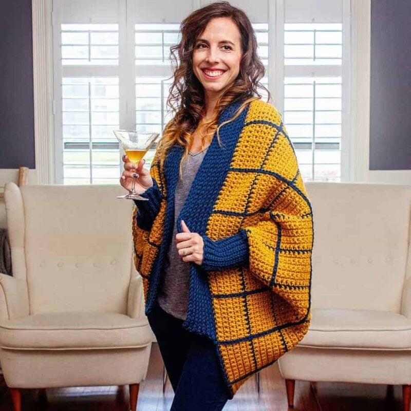 windowpane cocoon crochet wrap