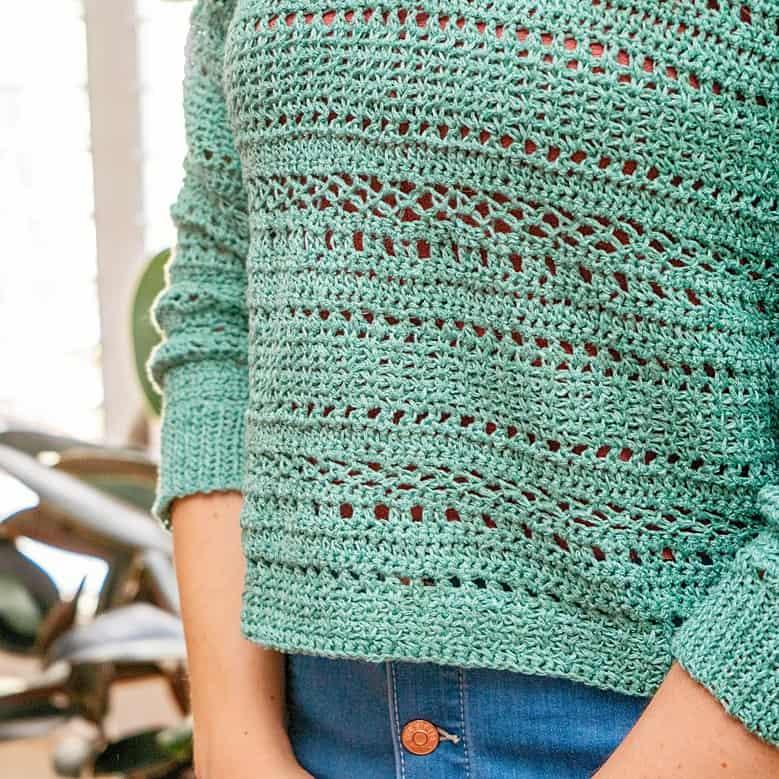 Sagebrush Lindy Chain Crochet Sweater