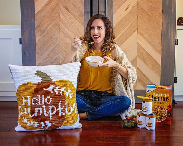 hello pumpkin crochet pillow