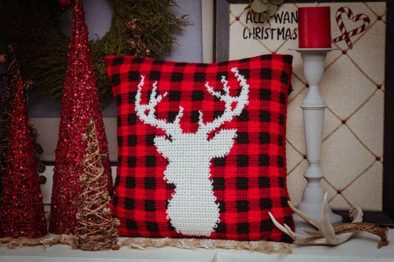 Farmhouse Deer Plaid Pillow