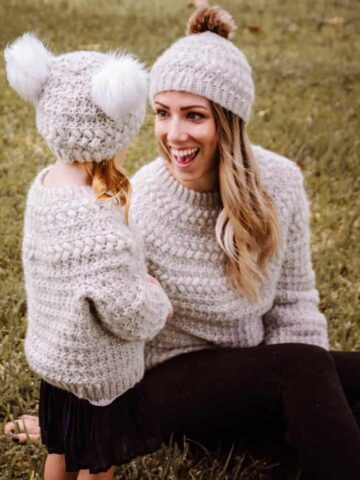 macchiato crochet sweater and beanie