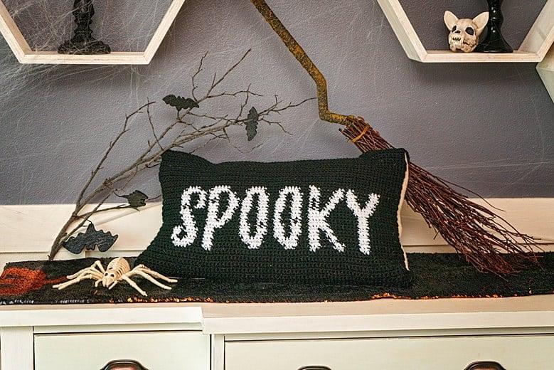 Spooky Crochet Pillow cover Free Pattern