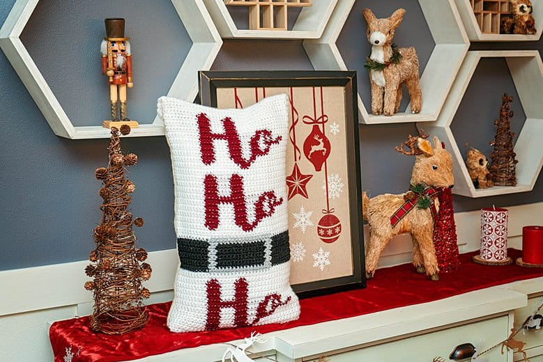 Ho Ho Ho Crochet Pillow Cover