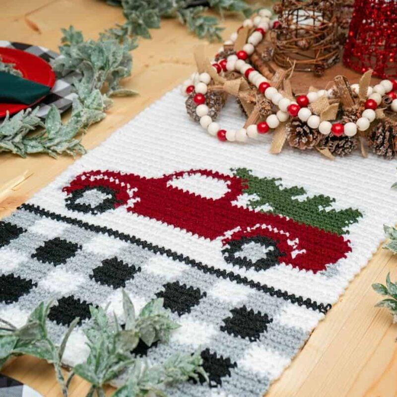 Red Christmas Truck Table Runner